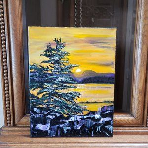 Sunset Pine Original Acrylic Painting